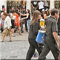 SJ4066 : Shoppers and policemen by Gerald England