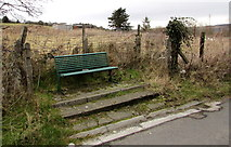 SN9803 : Green metal bench opposite the NW end of Queen Street, Cwmdare by Jaggery