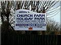 TM4657 : Church Farm Holiday Park sign by Adrian Cable
