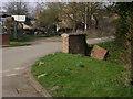 SK8707 : Damaged bridge parapet opposite a farm entrance, Church Road, Egleton by Robin Stott