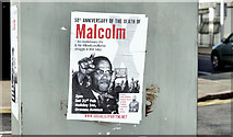 "J3674 : ""Malcolm X"" poster, Belfast (February 2015) by Albert Bridge"