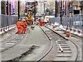 SJ8498 : Metrolink Track Laying at Balloon Street by David Dixon