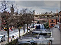 SJ8397 : Exhibition Footbridge, Rochdale Canal and Whitworth Street West by David Dixon
