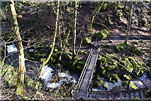 SK2579 : Footbridge over Burbage Brook, seen from above by David Martin