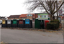 SU1585 : Chapel Street recycling bins, Gorse Hill, Swindon by Jaggery