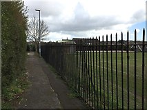 SJ8545 : Newcastle-under-Lyme: path and playing field by Jonathan Hutchins