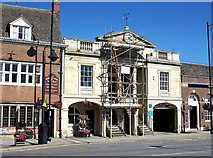 TF0920 : Repairing the Town Hall clock at Bourne, Lincolnshire by Rex Needle