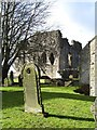 NY9913 : Bowes churchyard and castle by Gordon Hatton