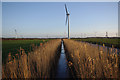 SD4261 : Drainage ditch and wind turbines, Heysham Moss by Ian Taylor