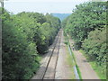 ST1295 : NCN47 and railway line heading towards Nelson by John Light