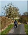 TA1553 : Cyclist on Dunnington Lane, E Yorks by Paul Harrop