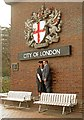 TQ3281 : City of London coat of arms, Barbican Centre by Julian Osley