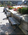 SP0686 : Formal flowerbeds, cast iron seats and bins, Centenary Square, Birmingham by Robin Stott