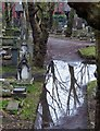 SP0588 : Reflections and graves - Key Hill Cemetery by Rob Farrow