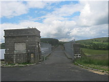 SN8329 : Barrier at south end of Usk Reservoir Dam by peter robinson