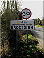 TM2179 : Brockdish Village Name sign on The Street by Adrian Cable