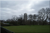 TQ2780 : View of the Hyde Park Barracks tower from Hyde Park #2 by Robert Lamb