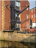 SD8538 : Loading Crane at Leeds and Liverpool Canal Warehouse, Nelson by David Dixon