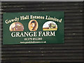 TM2585 : Grange Farm sign by Adrian Cable
