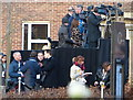 SK5804 : TV crews outside Leicester Cathedral by Mat Fascione