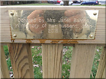 TM3864 : Plaque on the Seat off the B1121 Main Road by Adrian Cable