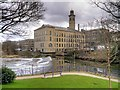 SE1338 : New Mill, River Aire and Weir from Roberts Park by David Dixon