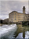 SE1338 : River Aire, Weir and New Mill, Saltaire by David Dixon