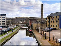 SE1437 : Leeds and Liverpool Canal, View East from Salts Mill Road by David Dixon