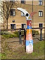 SE1437 : National Cycle Network Millennium Milepost by the Leeds and Liverpool Canal at Shipley by David Dixon