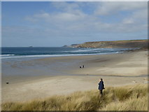 SW3526 : Sennen Cove beach and Whitesand Bay on a fine March day by Rod Allday