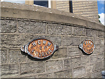 SE0924 : Valve markers on a wall, Skircoat Road, Halifax by Stephen Craven