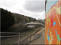 SS9993 : Colourful entrance to Llwynypia railway station by Jaggery