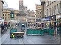 NZ2464 : Dismantling market stalls, Grainger Street, Newcastle upon Tyne by Graham Robson