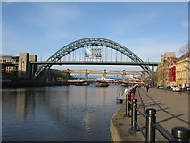 NZ2563 : Tyne Bridge (with Rugby World Cup 2015 logo) by G Laird