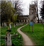 SP0228 : Churchyard path to St Peter's Parish Church, Winchcombe by Jaggery