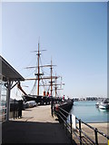 SU6200 : HMS Warrior and Jetty, Historic Dockyard, Portsmouth by Robin Sones