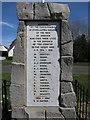 TL5428 : War memorial names, Henham by Hugh Venables