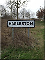 TM0161 : Harleston Village Name sign on Haughley Road by Adrian Cable