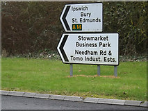 TM0659 : Roadsigns on the B1115 Stowmarket Road by Adrian Cable