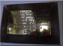 SD3598 : St Michael and All Angels, Hawkshead: restoration plaque by Basher Eyre