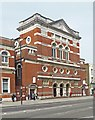 TQ3981 : Former public hall, Canning Town by Julian Osley