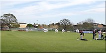 SX9392 : Archery on the playing field of Exeter School by David Smith