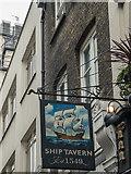 TQ3081 : The Ship Tavern Inn Sign, Gate Street, London WC1 by Christine Matthews