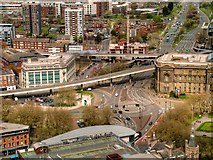 SJ3490 : View from St John's Beacon - Churchill Way and A57 Elevated Section by David Dixon