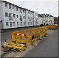 SP3265 : Yellow barriers and white buildings in Chapel Street, Royal Leamington Spa by Jaggery