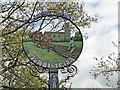 TM2954 : Pettistree village sign (detail) by Adrian S Pye