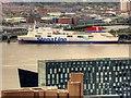 SJ3289 : View from St John's Beacon - Stena Line Ferry Terminal at Birkenhead by David Dixon