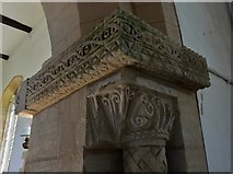 SK8707 : Egleton: St. Edmund's Church: The north capital of the Norman chancel arch by Michael Garlick