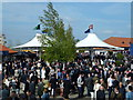 TL6262 : Crowd in the catering and bar area at Newmarket by Richard Humphrey