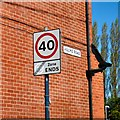 SJ9095 : Sign at the end of Hulme Road by Gerald England